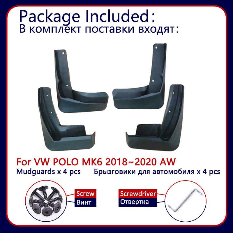 フォルクスワーゲン VW ポロ MK6 AW 2018 2019 2020 車の泥フラップ前面背面マッドガードスプラッシュガードフェンダー Mudflaps 車アクセサリー