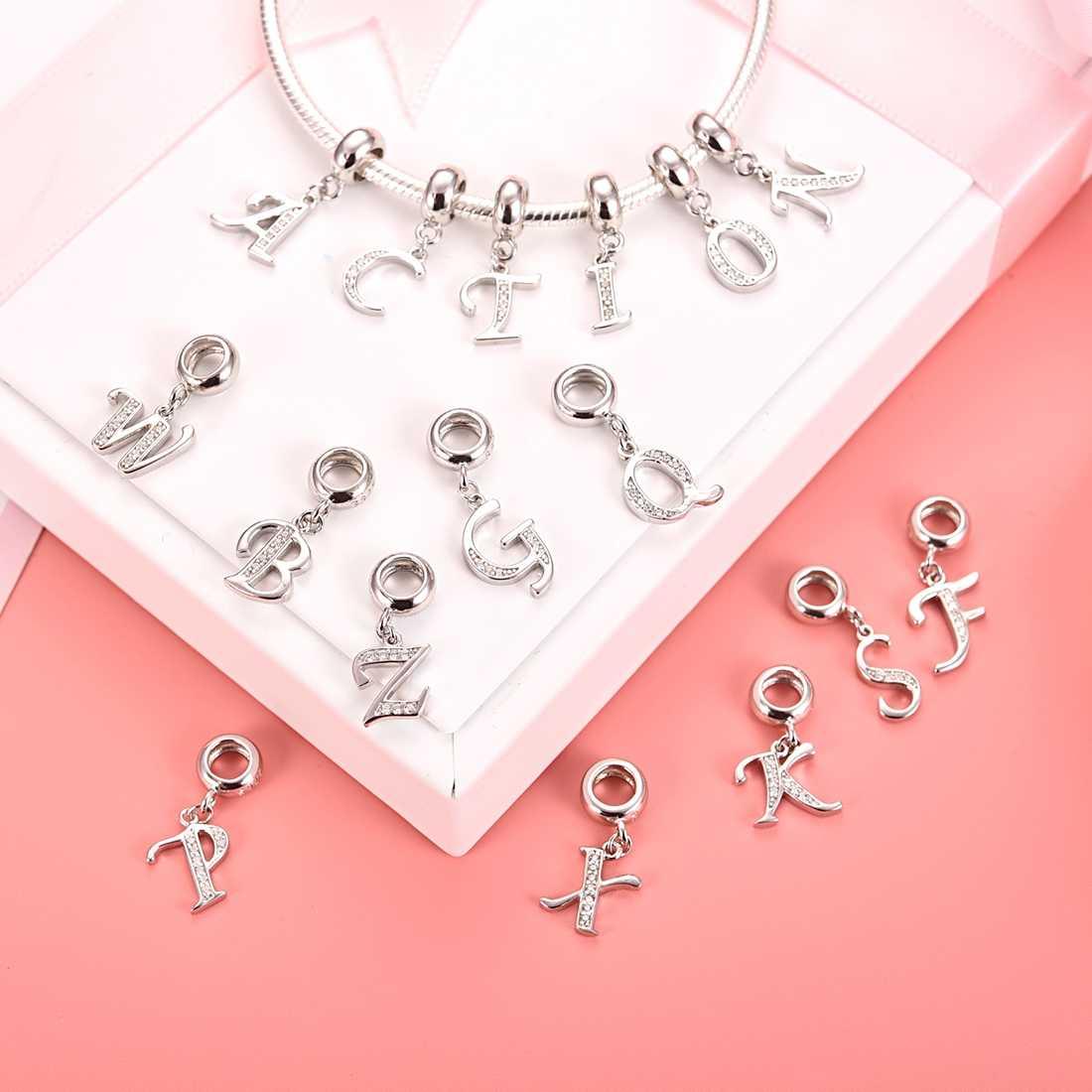 Jiayiqi A Tot Z Brief Charms 925 Sterling Zilver Cz Kralen Fit Vrouwen Pandora Bedels Zilver 925 Originele Diy Sieraden gift Maken