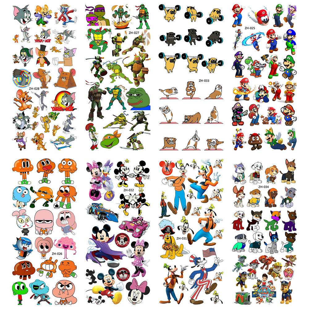 Cartoon Water Transfer Fake Temporary Tattoos Children Tattoo Paper For Boy Kids 3D Tatoo Flash Tatouage Cool Fashion Stickers