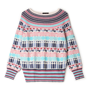 Image 5 - Runway Designer Wool Blend Warm Sweaters and Pullovers Women Winter Striped Female Knitted Jumper 2020 Christmas Clothing C 250