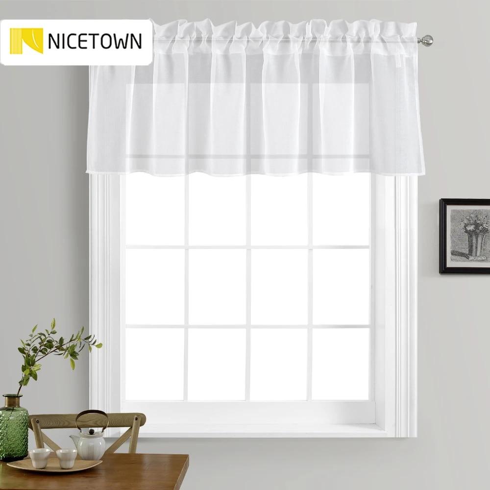 nicetown traitement de fenetre de cuisine voile cantonniere aspect lin rideau transparent niveau pour petite fenetre de cuisine domestique