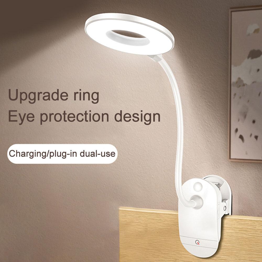 Сенсорная настольная лампа для чтения на гусиную шею 1200 мАч для книжной кровати, перезаряжаемая Беспроводная настольная лампа Flexo с USB-зажим...