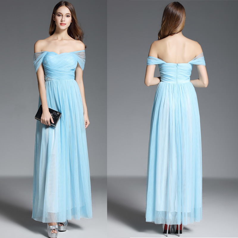 Beautifly Manufacturers Straight Hair New Style Gauze Shoulder Sleeve Tube Top Long Banquet Evening Dress Wedding Bridesmaid Dre