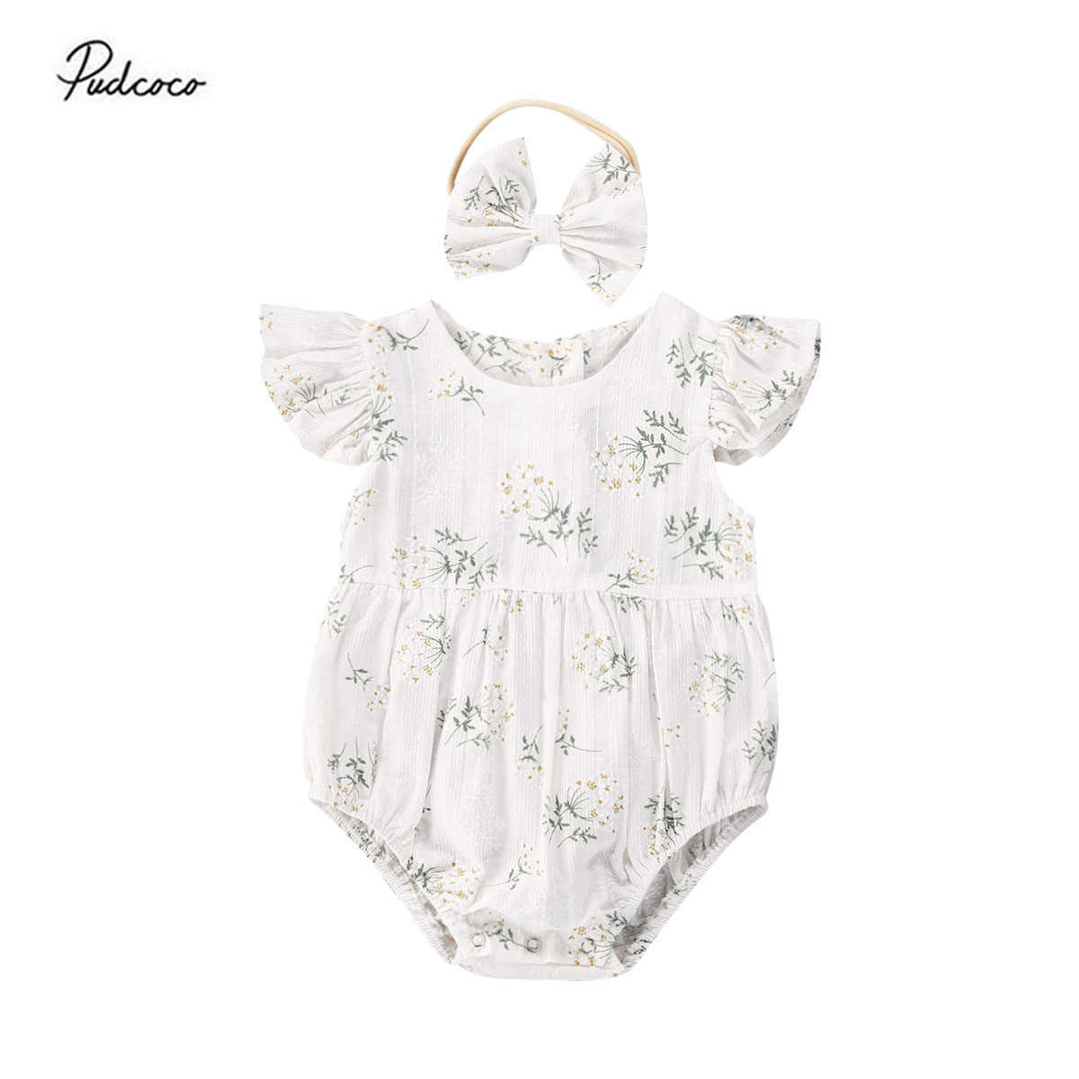 2PCS Toddler Kids Baby Girl Clothes Floral Jumpsuit Summer Sleeveless Bodysuit Sunsuit Outfits Headband