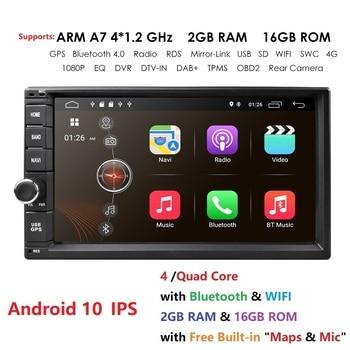 2g ram android 10 auto rádio quad core 7 Polegada 2din carro universal sem dvd player gps estéreo áudio unidade de cabeça suporte dab dvr obd bt