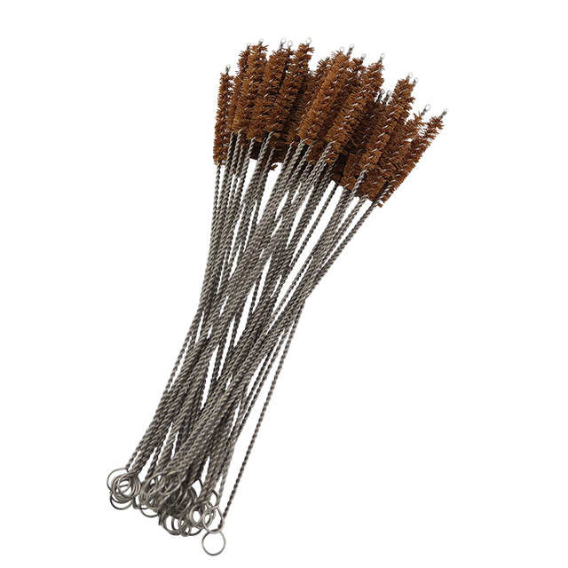 10PCS/Set Natural  coconut fiber brush Straw Brush Reusable Stainless Steel Drinking Straws Cleaning Brush eco-friendly bamboo s