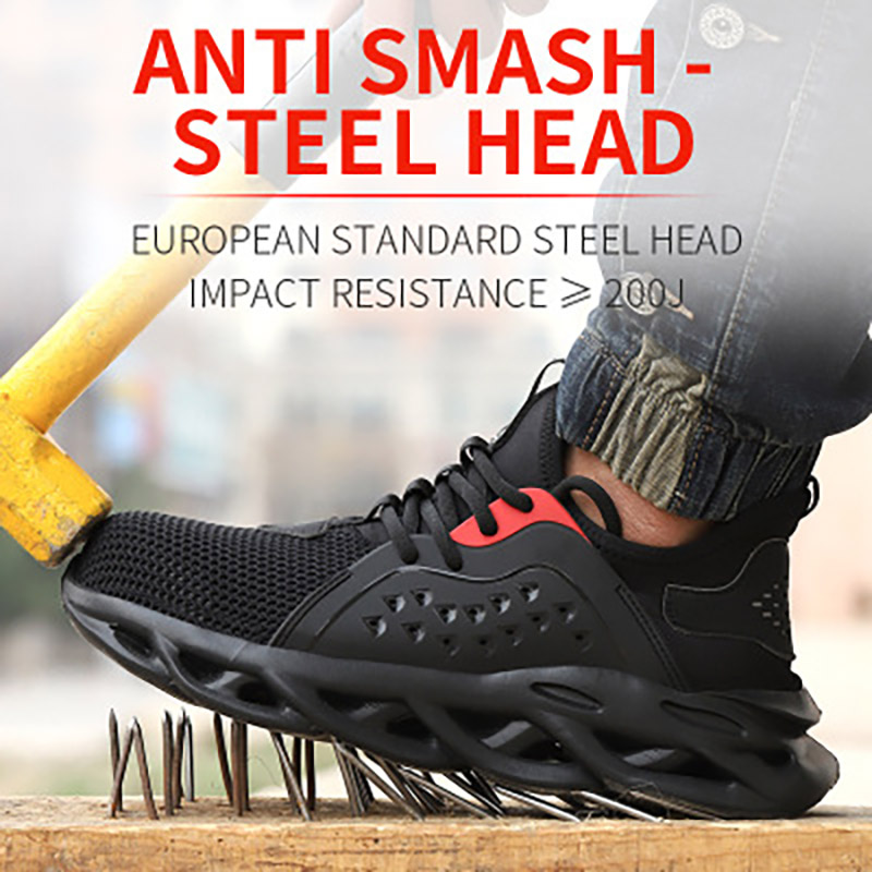 Men Safety Sneaker Breathable Lightweight Lndestructible Shoes Anti Piercing Men Steel Toe Elastic Sole Work Safety Shoes