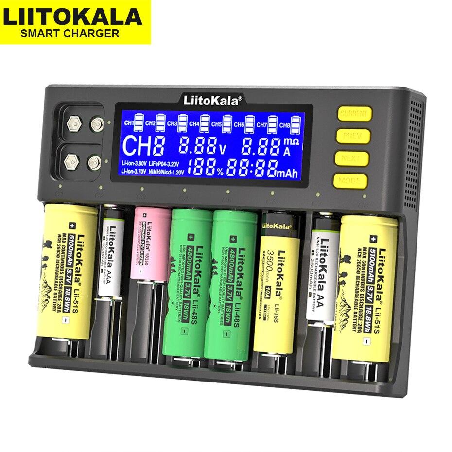 LiitoKala Lii-S8 Battery Charger  Li-ion 3 7V  NiMH 1 2V Li-FePO4 3 2V IMR 3 8V charger  for 18650 26650 21700 26700 AA AAA
