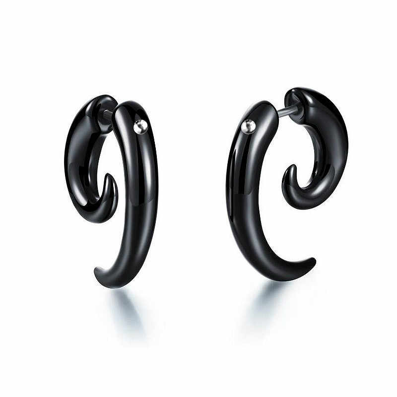 2019 New 6mm Shaped Black Ox Horn Drop Dangle Earrings Fashion Jewelry For Man