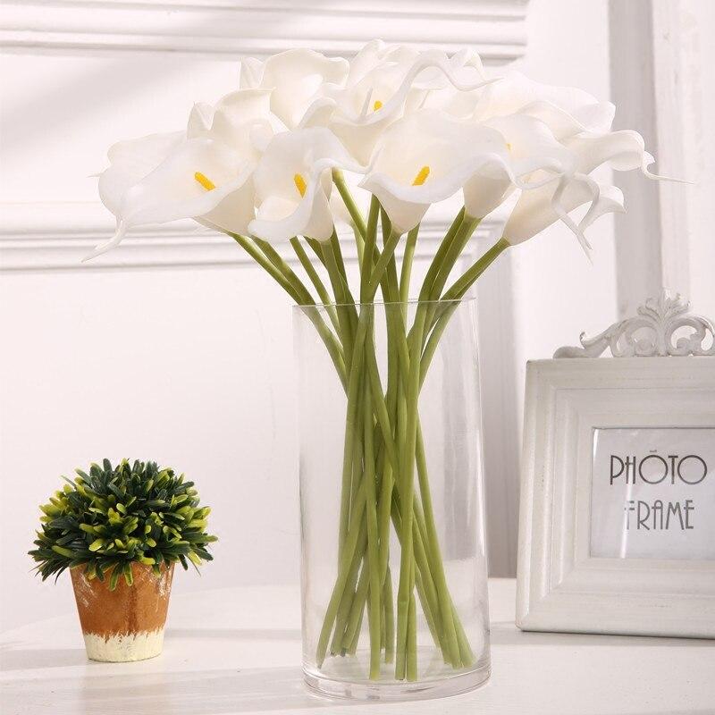 Bouquet de mariage Calla artificiel couleur rose blanc 5-30 pièces | Fleur de lys blanc tactile véritable, Bouquet bricolage pour mariage, décoration de réception de mariage, décoration pour la maison