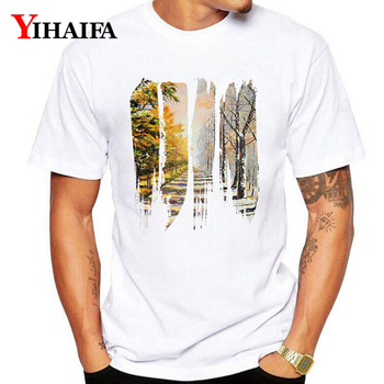 T-Shirt Mens Hombres Twilight Street Painted like Print Stylish Graphic Tees Casual Plus Size White Tee Shirts Tops S-3XL casual glasses print tee in white