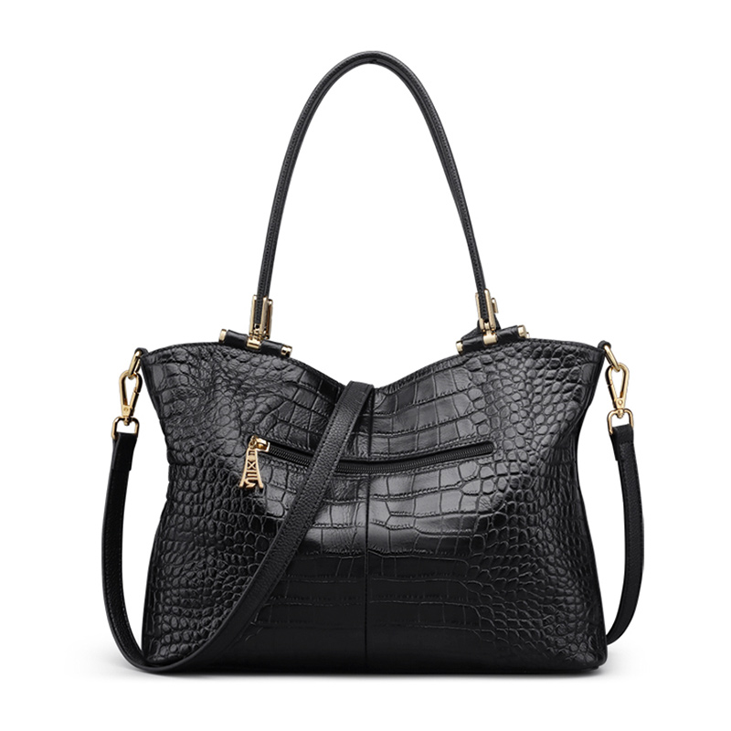 Foxer Splicy Design Women Tote Vintage Alligator Lady Black