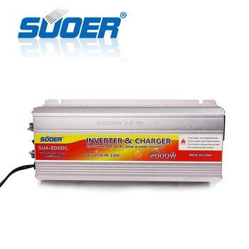 Suoer【 Modified Sine Wave Inverter 】 12 Volt 220 Volt 2000 Watt DC AC Solar Power Inverter With Battery Charger(SUA-2000C)