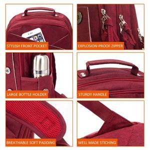 Image 5 - Kingslong mochila impermeable para ordenador portátil para mujer, morral para ordenador portátil de 15,6 pulgadas, para viajes, trabajo, negocios, estilo escolar, color rojo