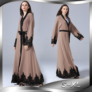 Lugentolo Women Dress Long Abaya Fashion Embroidery Turkey Muslim Cardigan Plus Size Lacing Splice Loose Long Sleeve Dress