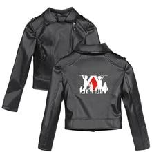 Full-time Hunter Harajuku Women Short PU Jacket Motorcycle Crop Tops Hunter X Hunter Long Sleeve Slim Black Coats