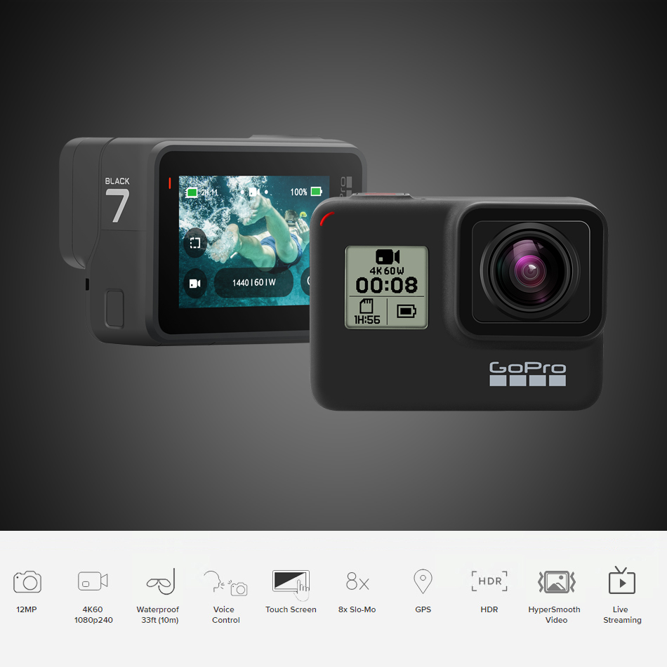 GoPro HERO 7 Black Waterproof Action Camera with Touch Screen Sports Cam Go Pro HERO 7 12MP Photos Live Streaming Stabilization 3