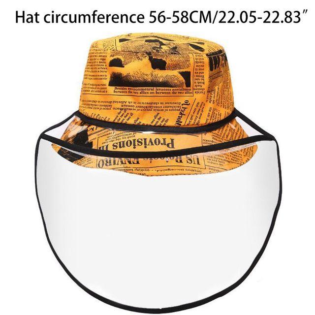New Unisex Retro Newpaper Letters Bucket Hat Full Face Protection Shield Detachable Sun Protection Anti Saliva Fisherman Cap 3