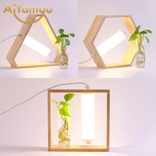 Creative Table Lamp Wooden Bedside Desk lights Lamps For Bedroom LED Book Room Lighting Fixture Luminaria