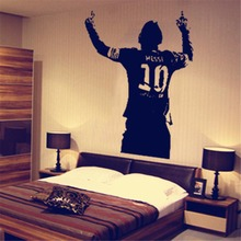 Black PVC Huge Football Star Lionel Messi Figure Wall Sticker Vinyl DIY Kids Living Room Decals For Soccer Lovers