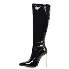 Plus Size 48 Women High Boots Black Red White Knee High Boots Sexy High Heels Women High Knee Boots Women #8217 s Shoes Autumn Winter cheap ZOGEER Patent Leather Knee-High zipper Solid zg7y5 Adult Thin Heels Basic Short Plush Pointed Toe Spring Autumn Rubber Super High (8cm-up)
