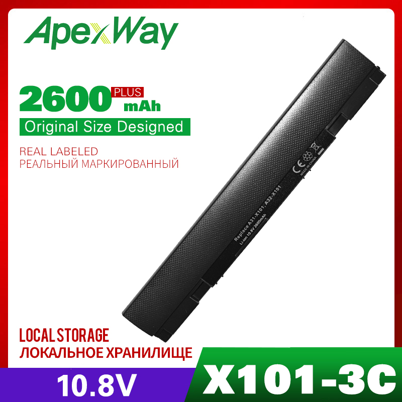 ApexWay New 3Cell <font><b>10.8V</b></font>/11.1V Laptop BLACK <font><b>Battery</b></font> for ASUS A32-X101 A31-X101 for Eee PC X101 X101H X101C X101CH <font><b>2200mAh</b></font> image