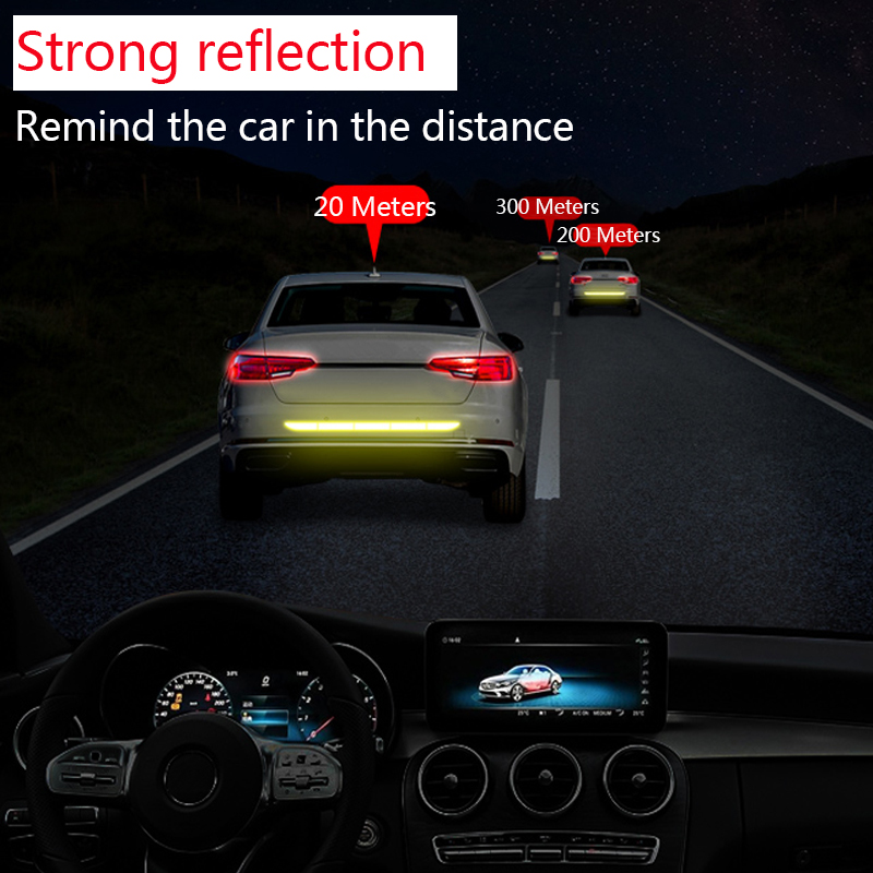 Image 5 - Car Reflective Tape Stickers Exterior Warning Strip Reflect Tape Traceless Protective Car Sticker Trunk Body Auto Accessories-in Car Stickers from Automobiles & Motorcycles