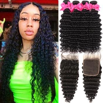 цена на Peruvian Deep Wave Bundles With Closure 100% Human Hair Bundles With Closure Remy Transparent Lace Closure With Bundles