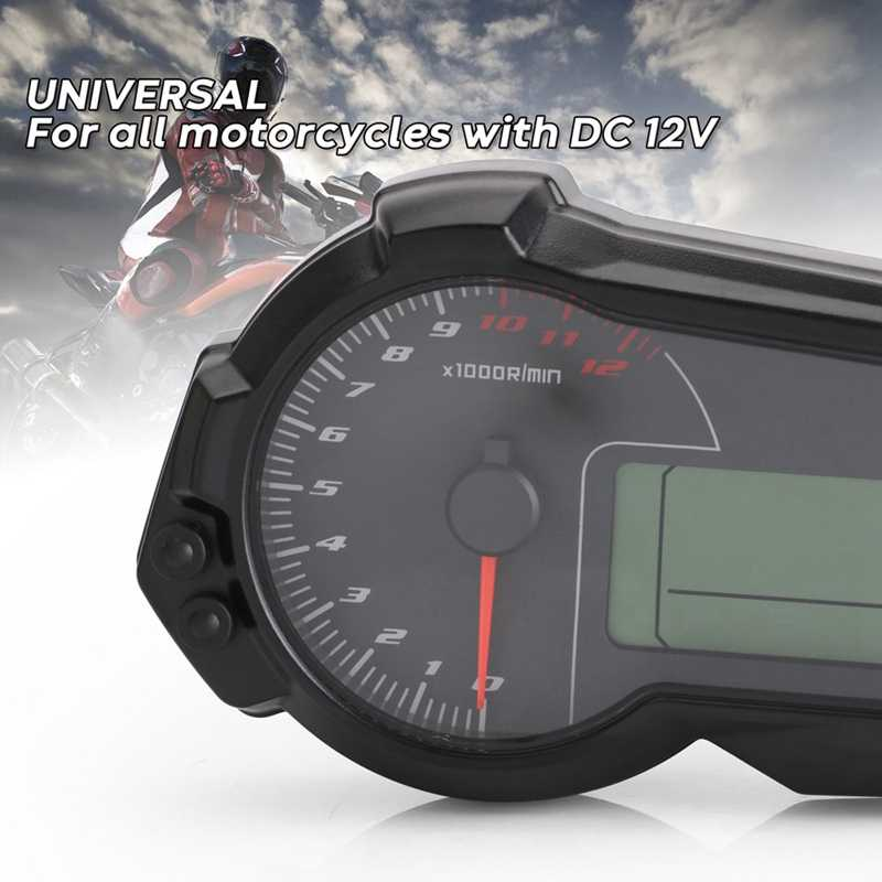 Universal Motor Odometer Tachometer untuk 2,4 Silinder ATV LCD Digital Speedometer 12000 Rpm untuk BMW untuk Kawasaki KTM untuk