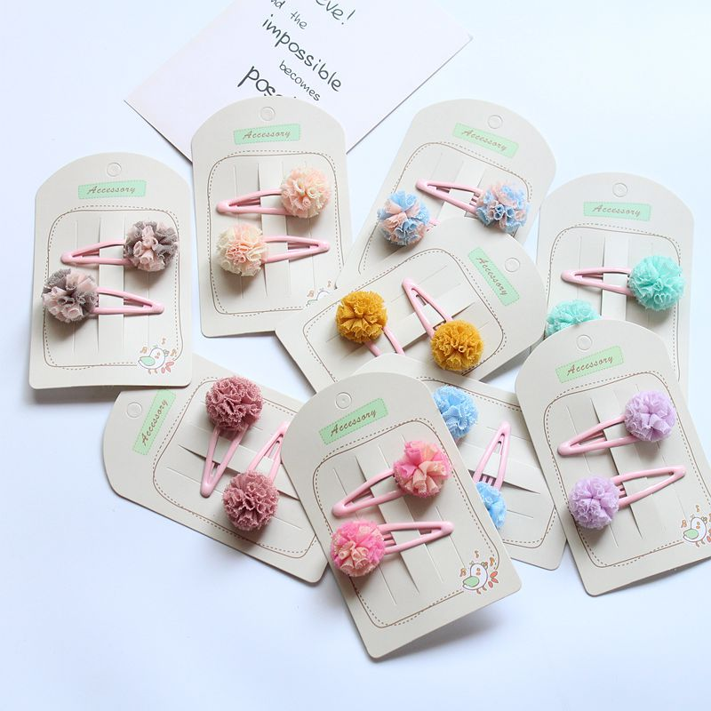 2Pcs/lot Ball Hairpins Lace Snap Hair Clips Student color Beads Girls Hair Accessories Ponytail Elastic Hair Band Hair Tie