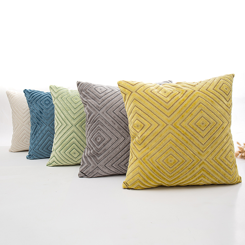 45 45cm yellow green cushion covers no inner flocked decoration cojines decorativos geometric cushion cover for chair X62 in Cushion Cover from Home Garden