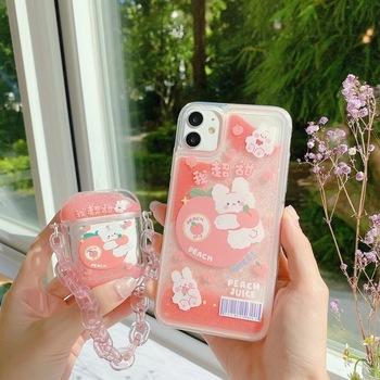 Moda brokat dynamiczny płyn etui na telefony dla IPhone 12 11 Pro 6 7 8 Plus X XR XS MAX Quicksand niedźwiedź kot pokrywa dla AirPods 12pro tanie i dobre opinie VBNM APPLE CN (pochodzenie) W stylu rysunkowym