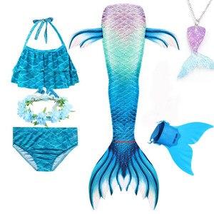 Image 4 - Girls Mermaid Tail Swimsuit 3 pcs Bikini Bathing Swimming Costumes Children Cosplay Dress With Monofin Fin Birthday gift