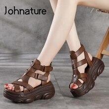 Johnature kliny buty damskie sandały z prawdziwej skóry Hook & Loop Retro 2021 nowe letnie szycie ręcznie zwięzłe sandały na platformie