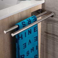 40CM Towel Holder Double Arms Towel Rail Stainless Steel Bath Towel Rack Wall Mounted Towel Hanger Bathroom Brief Towel Bars