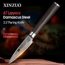 XINZUO 3,5 pulgadas cuchillo de fruta 67 capas Japón Damasco Acero inoxidable cuchillos de cocina de alta calidad cuchillo mango ergonómico