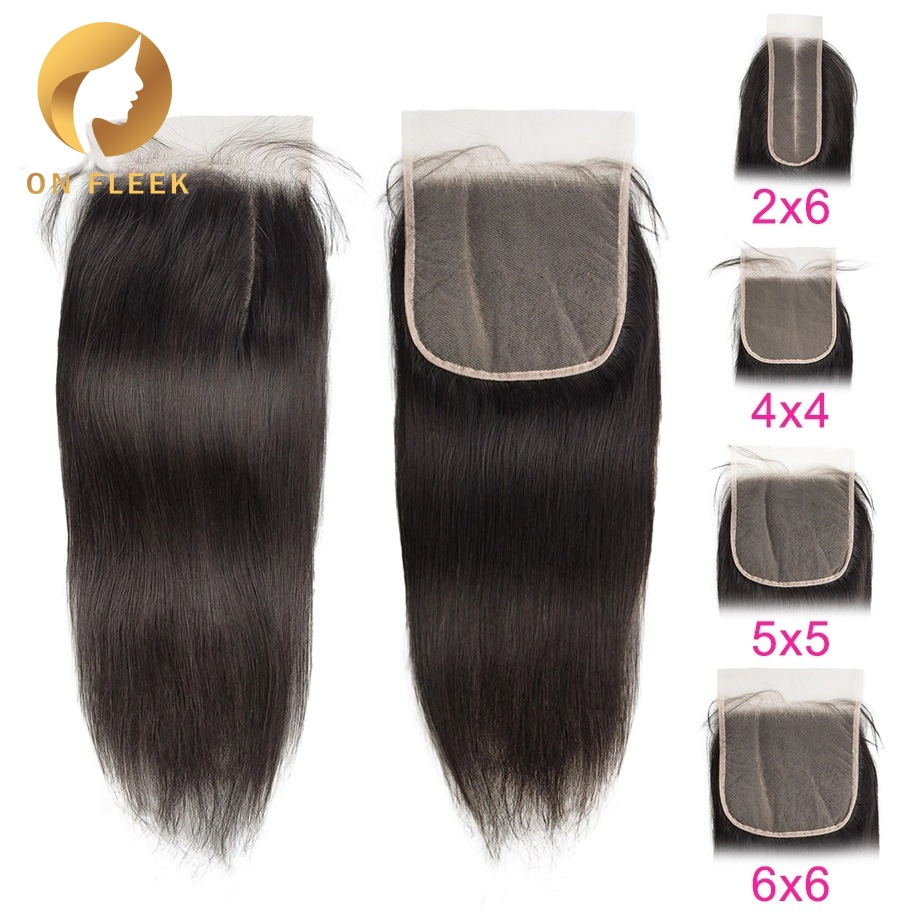 Brazilian Human Hair Lace Closure Straight 5x5 Transparent Lace Closure With Pre Plucked Baby Hair Bleached Knot Free Shipping