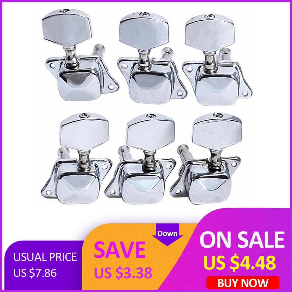 6 Pcs/Set  Guitar String Tuning Pegs Tuners Machine Heads Guitar Parts Accessories - Silver