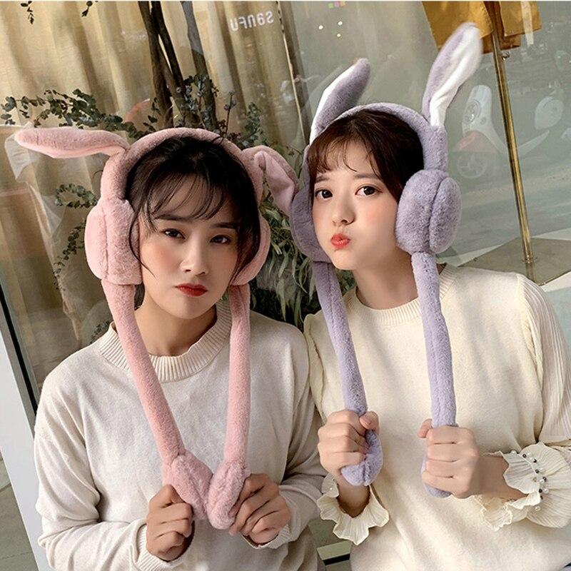 Cute Women Earmuffs Warm Can Move Airbags Cap Plush Dance Rabbit Ear Autumn Winter K2