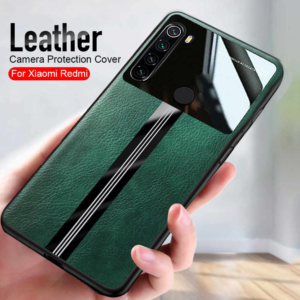 leather texture phone <font><b>case</b></font> for xiaomi <font><b>redmi</b></font> <font><b>note</b></font> 8 <font><b>pro</b></font> 7 <font><b>6</b></font> 7a 8a on readmi note8 note7 camera plexiglass back cover coque fundas image
