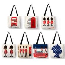 Sacs à main Design de londres pour femmes et filles, fourre-tout en lin, sac de téléphone Bus imprimé pliable, sac de plage pour livre d'étudiants B10094