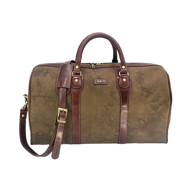 Juice - made in Italy,Genuine leather,leather overnight bag,large capacity,Canvas and Top leather,Brown,112243