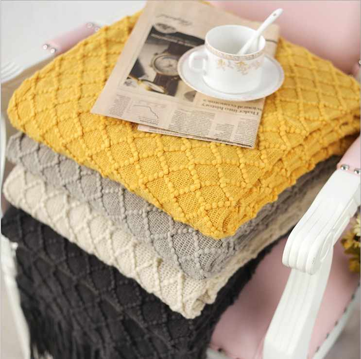 Knitted Throw Travel Blanket Grey Yellow Black Grey Sofa Throw Blanket Tassels Air Condition Blanket 130x170cm