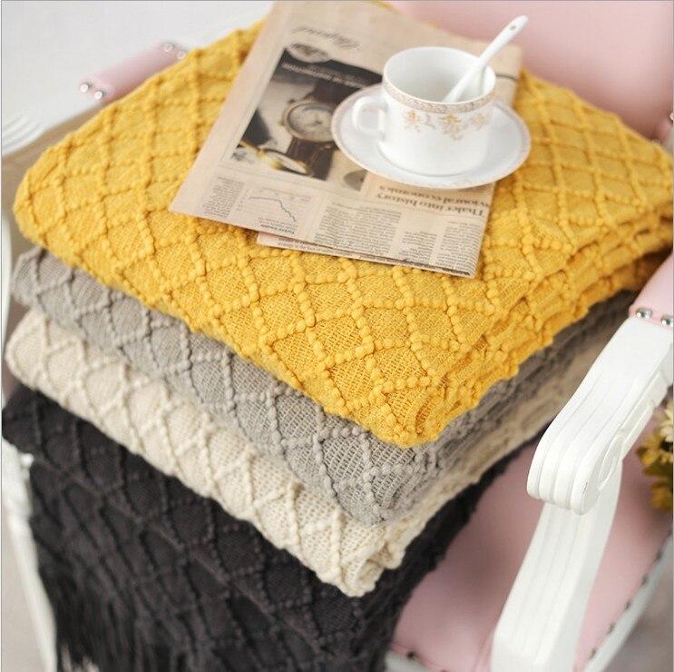 Knitted Throw Travel Blanket Grey Yellow Black Grey Sofa Throw Blanket Tassels Air Condition Blanket 130x170cm
