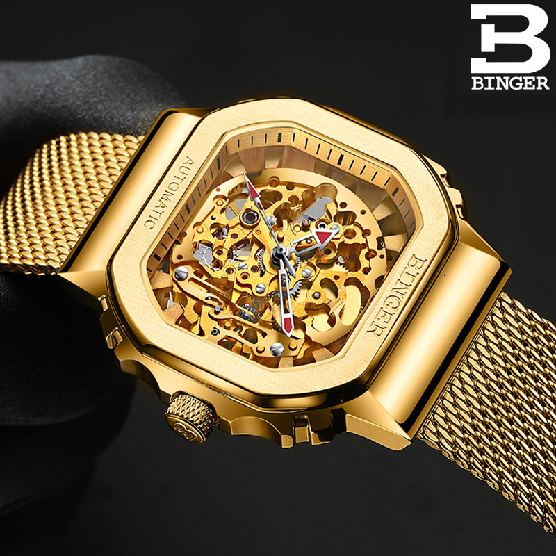 Switzerland BINGER Watch Men Automatic Mechanical Watches Role Luxury Brand Skeleton Tourbillon Wrist Sapphire Waterproof