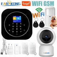 Tuya Wifi GSM système d'alarme maison RFID cambrioleur sécurité LCD tactile clavier 433MHz sans fil capteur kit alarme 11 langues pour basculer