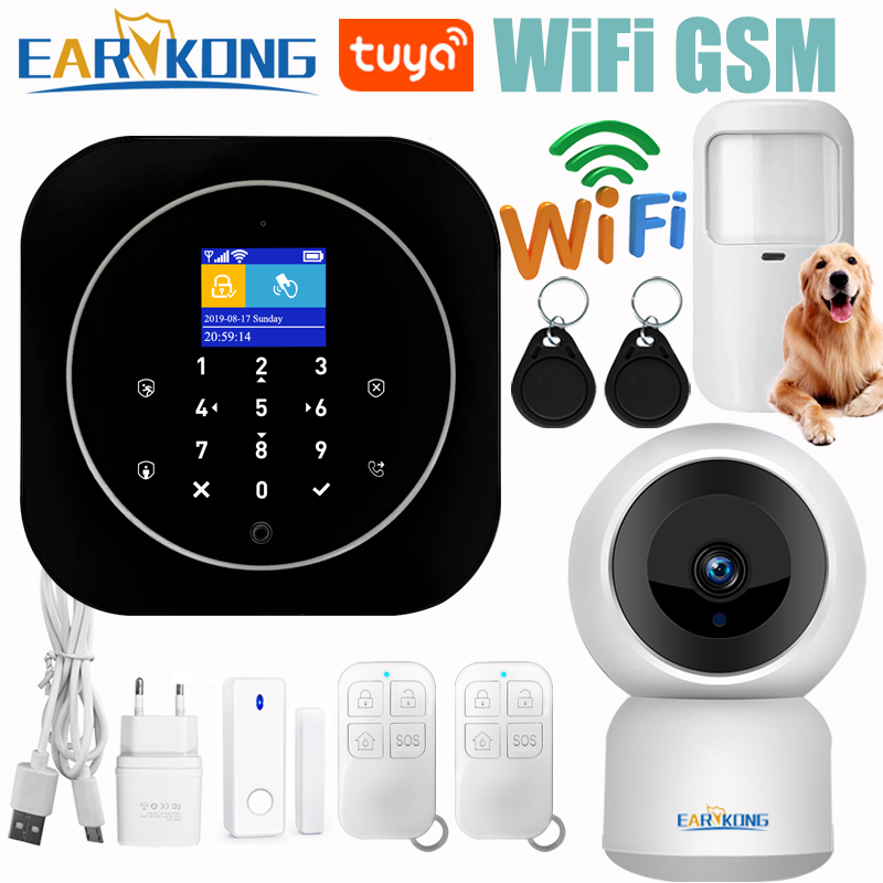 Tuya Wifi GSM Alarm System Home RFID Burglar Security LCD Touch Keyboard 433MHz Wireless Sensor Kit Alarm 11 Languages To Switch