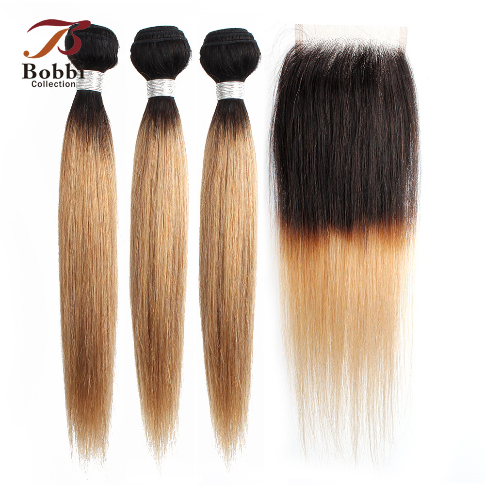 BOBBI COLLECTION Pre-Colored Brazilian Hair 2/3 Bundles With Closure 1B 27 Honey Blonde Ombre Non-Remy Straight Human Hair Weave