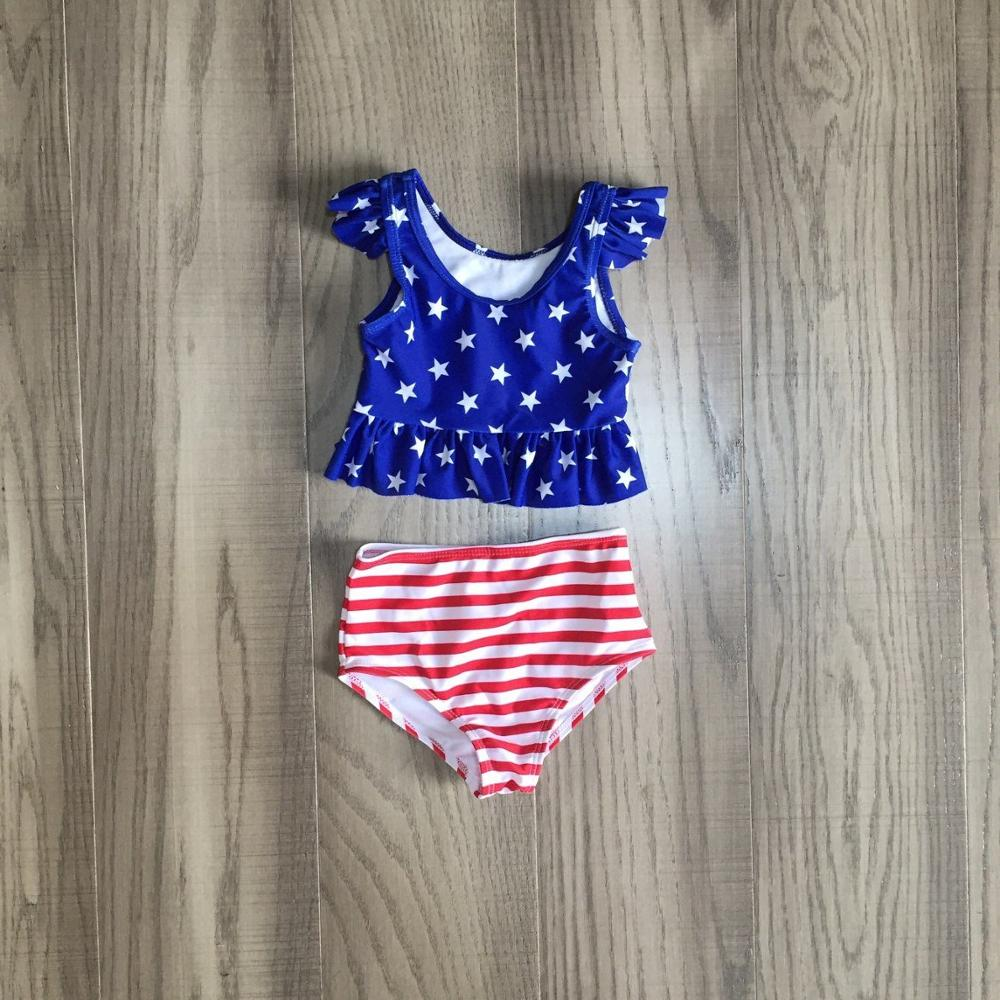 Baby Girls July 4th Swimsuit Kids Stars And Tripe Swimsuit Girl Bathing Set Wholesale