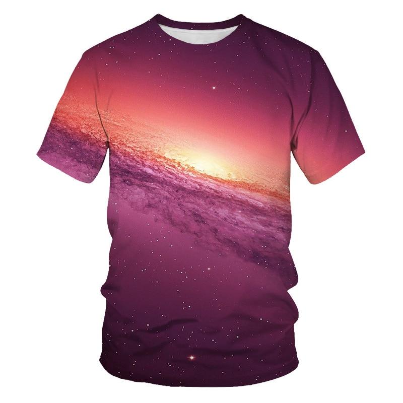 2021 summer boutique men's shirt short-sleeved galaxy vast starry sky wonderful journey 3D printing O-neck T-shirt